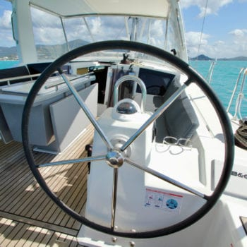 Whitsunday Escape sailing yacht Beneteau 411 helm starboard side looking forward