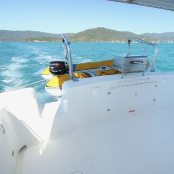 Whitsunday Escape power catamaran Scimitar 1010 cockpit BBQ dinghy