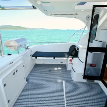 Whitsunday Escape Voyager 1040 Power Catamaran Cockpit BBQ Port 1500