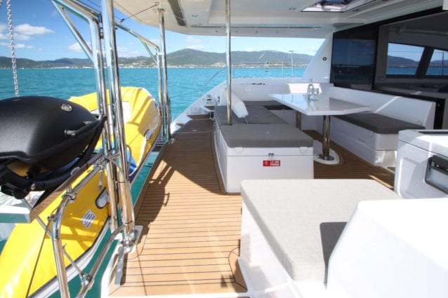 Whitsunday Escape Leopard 40 3 cabin cockpit seating bbq and dinghy