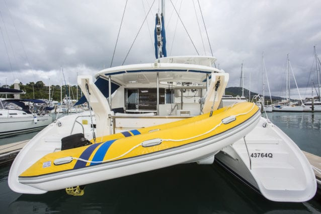 Whitsunday Escape Leopard 46 Rear with Dinghy in Davits
