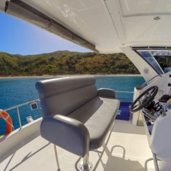 Leopard 47 Power Catamaran flybridge helm seating