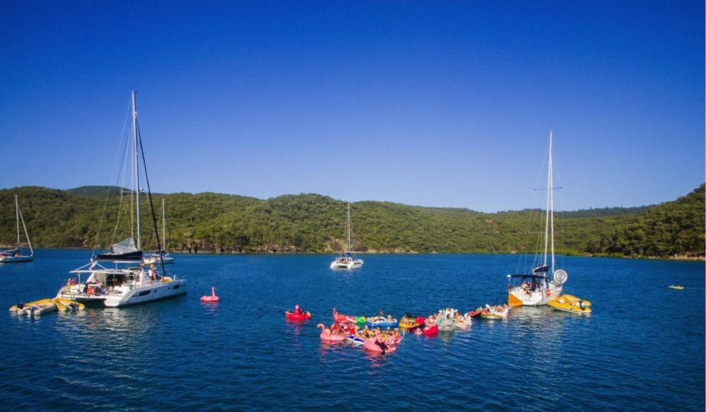 Friends, floats, boats and sunshine in the Whitsundays on a bareboat holiday